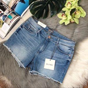 DL1961 Karlie Boyfriend Midi Cutoff Denim Shorts